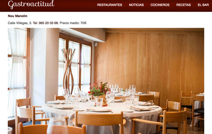 Sección de prensa del Grupo de hostelería Gastronou de Alicante