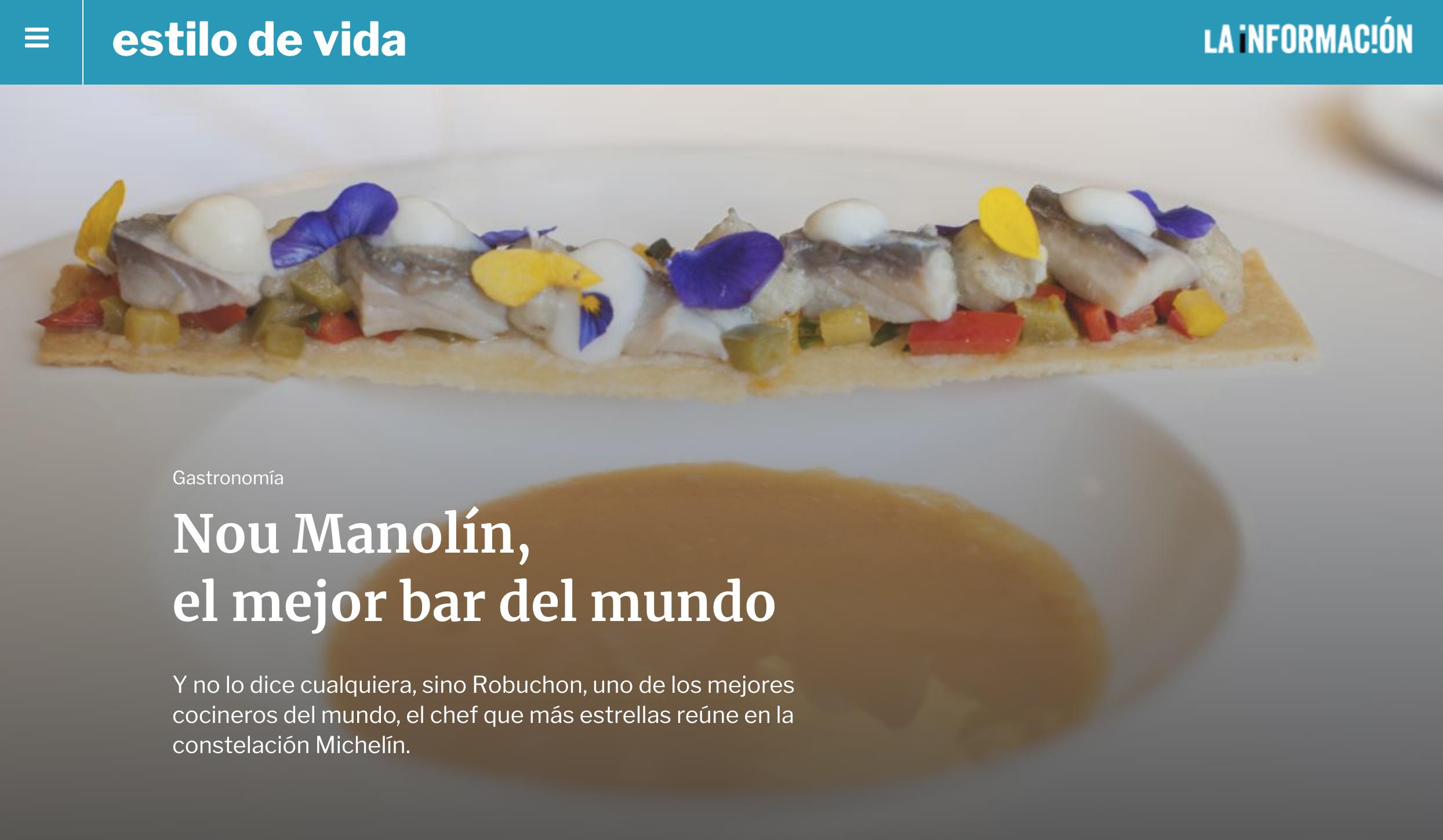 Nou Manolín, el mejor bar del mundo según Robuchon - La Información