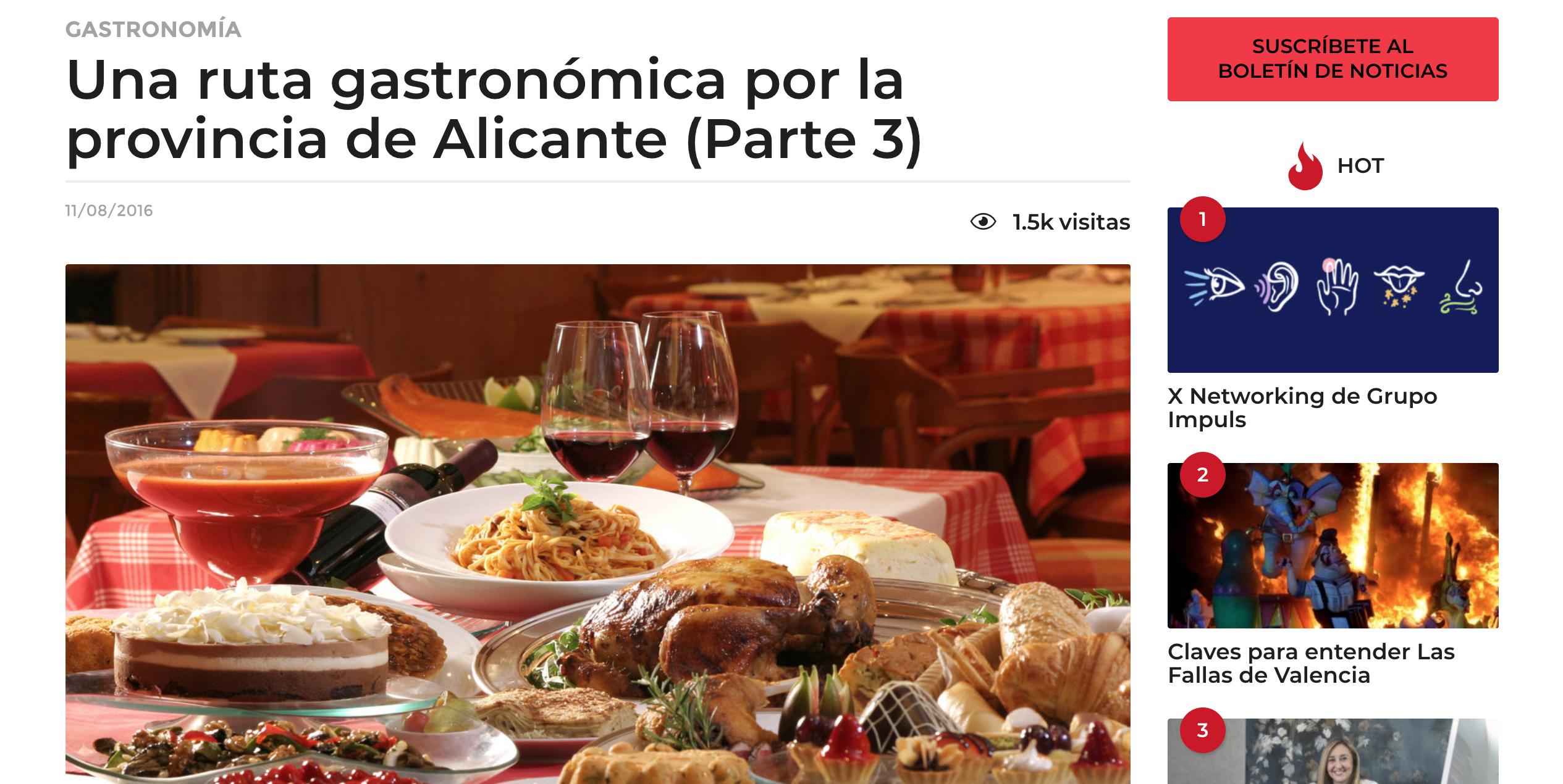 """El Grupo Gastronou en """"La Ruta Gastronómica de la provincia de Alicante"""""""